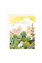 JooJoo Paper Cats In Garden Birthday Card - Product Mini Image