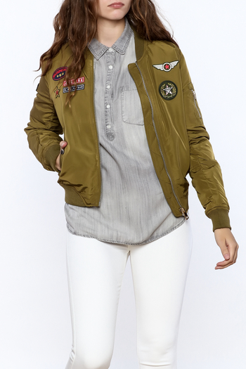 Cattiva Girl Olive Bomber Jacket - Main Image
