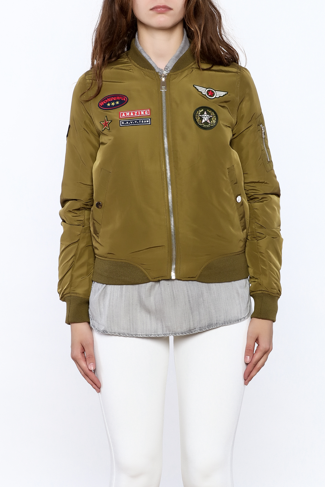 Cattiva Girl Olive Bomber Jacket - Side Cropped Image