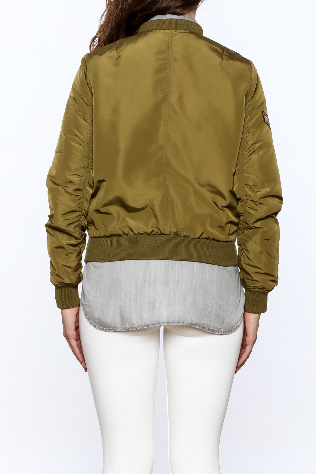Cattiva Girl Olive Bomber Jacket - Back Cropped Image