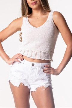 Cattiva Girl Embroidery-Sweater Crop Top - Product List Image