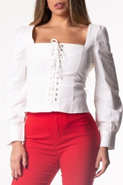Cattiva Girl Lace-Up Long-Sleeve Top - Product Mini Image