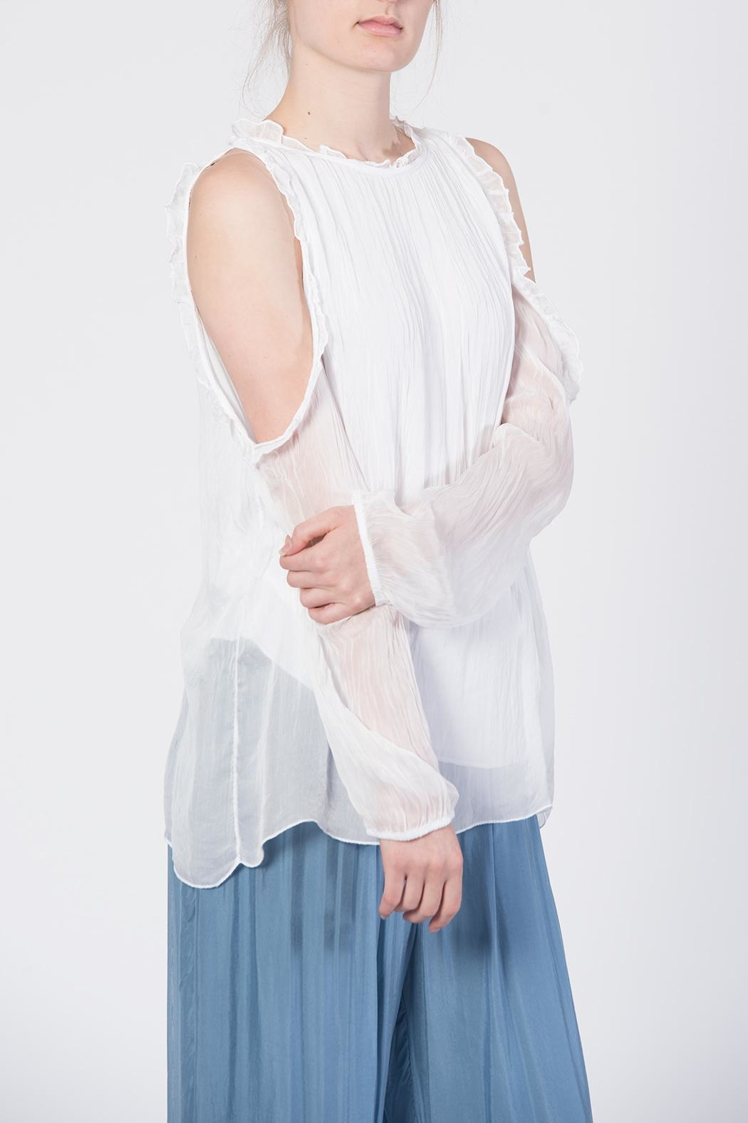 Catwalk White Cold-Shoulder Top - Side Cropped Image