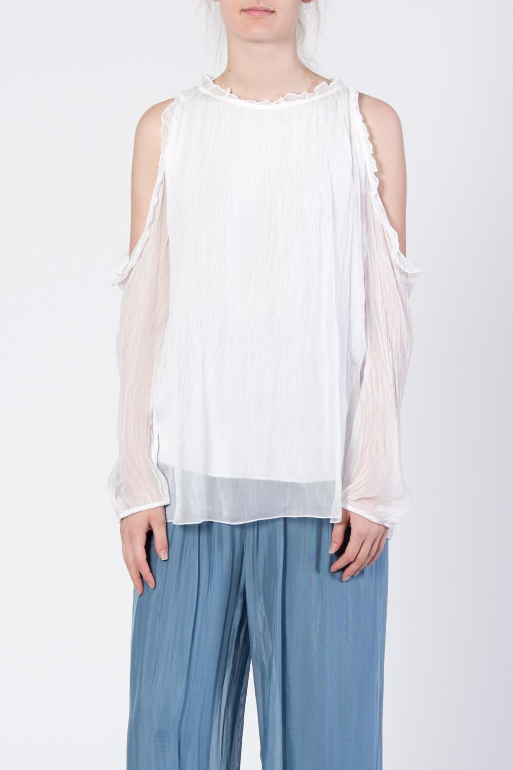 Catwalk White Cold-Shoulder Top - Main Image
