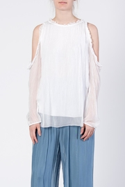 Catwalk White Cold-Shoulder Top - Front cropped