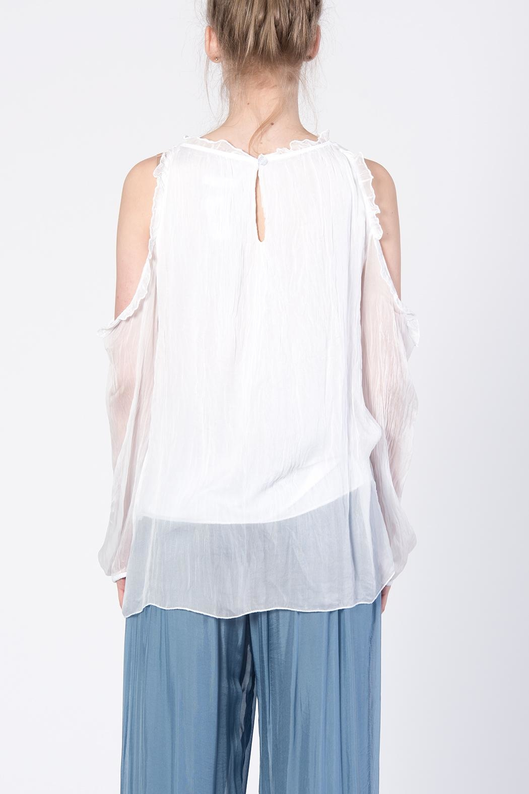 Catwalk White Cold-Shoulder Top - Front Full Image
