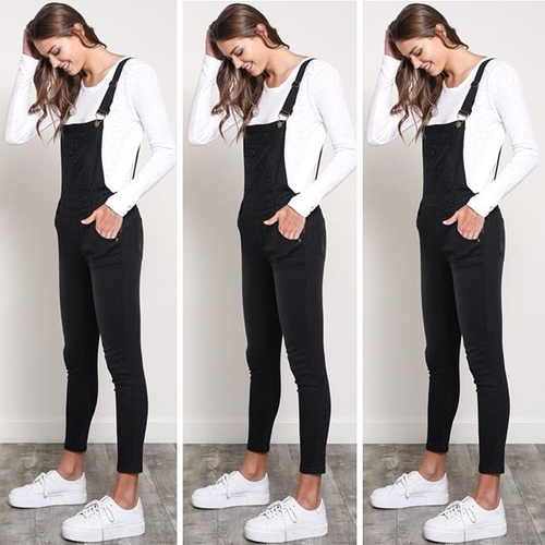 Unknown Factory Skinny Black Overalls - Main Image