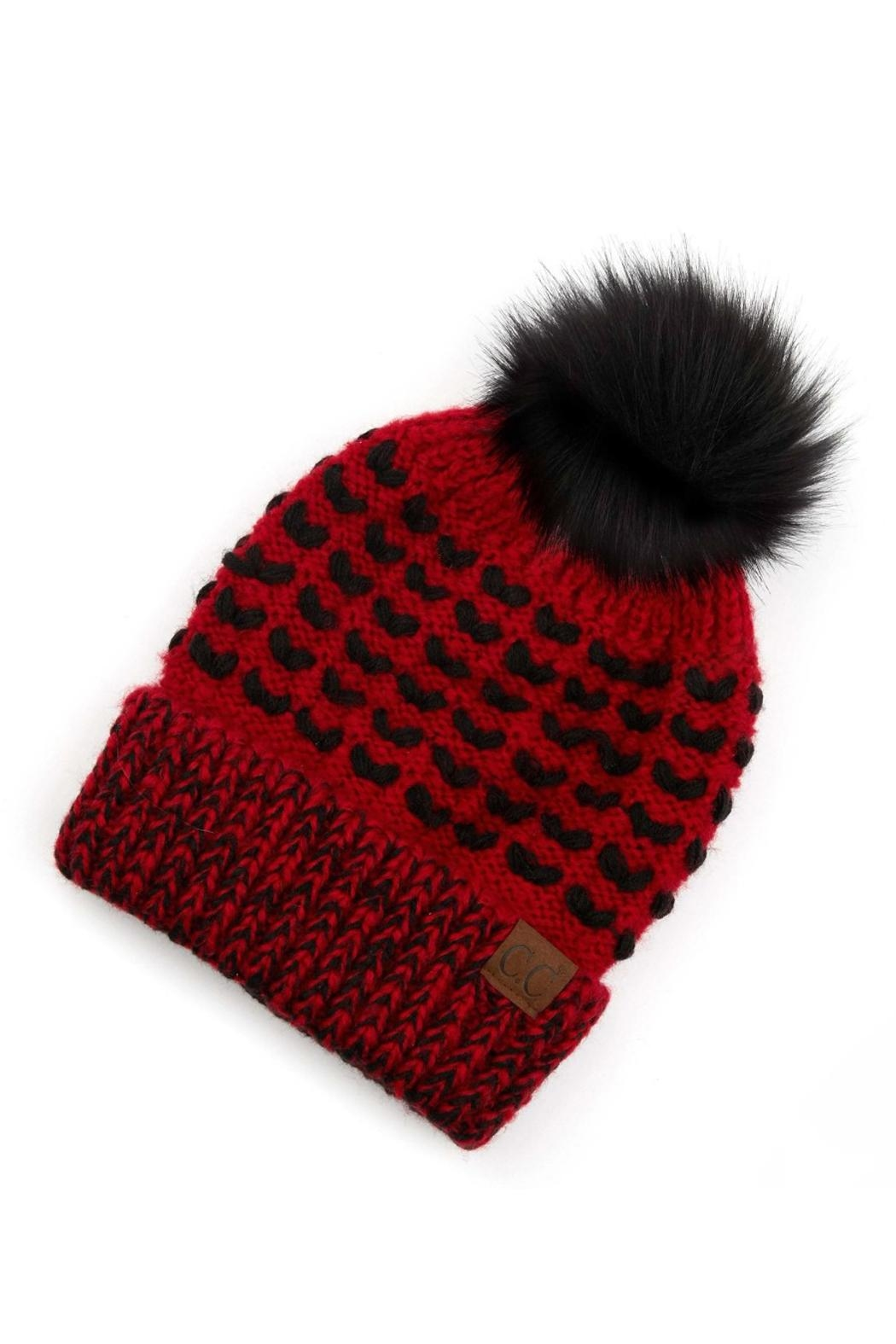 CC Beanie Red & Black Beanie - Front Full Image