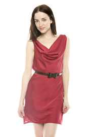 Shoptiques Product: Red Sleeveless Belted Dress