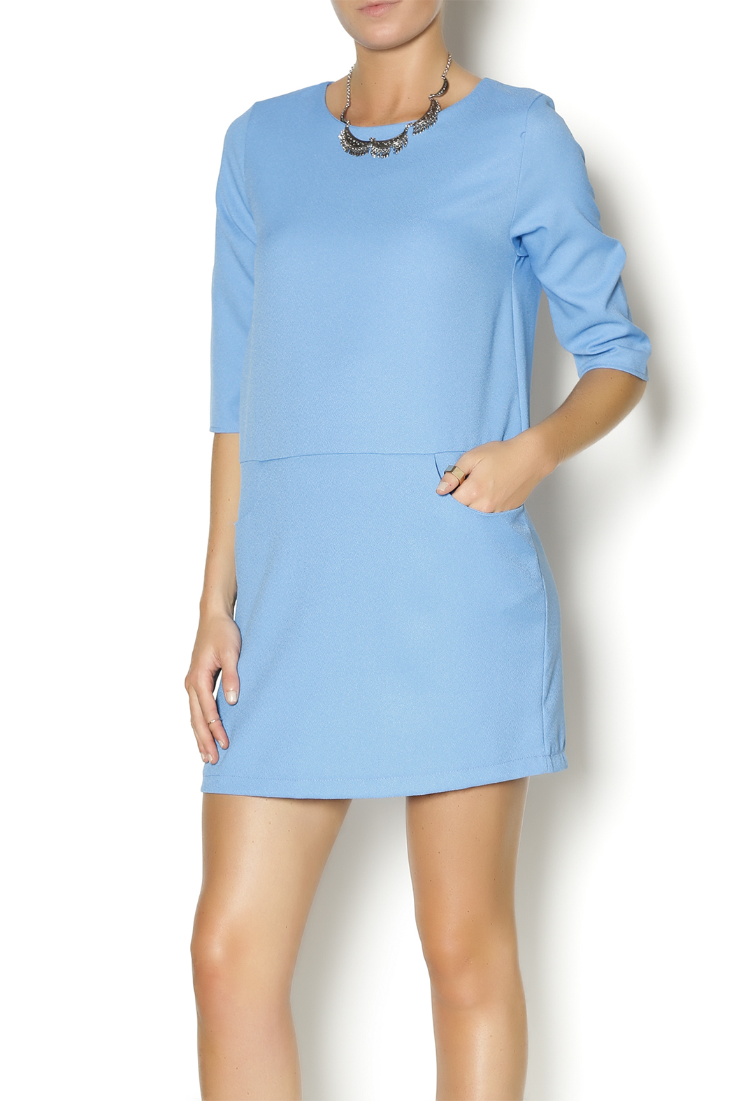 Everly Blue Shirt Dress - Main Image