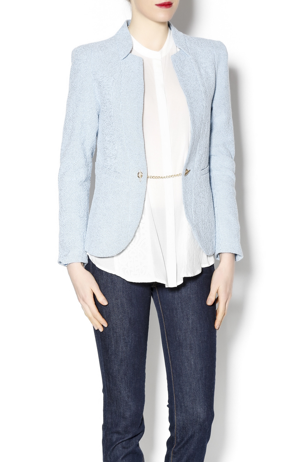Lucy & Co. Powder Blue Blazer - Front Cropped Image