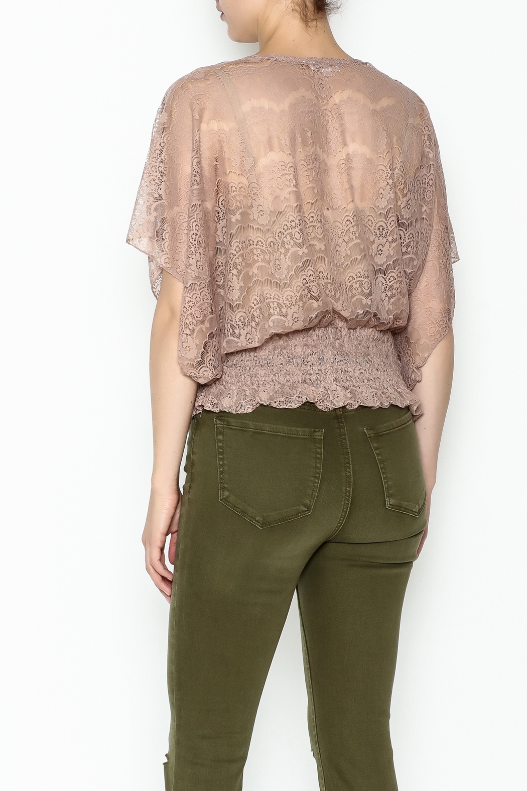 Cecico Lace Smocked Top - Back Cropped Image