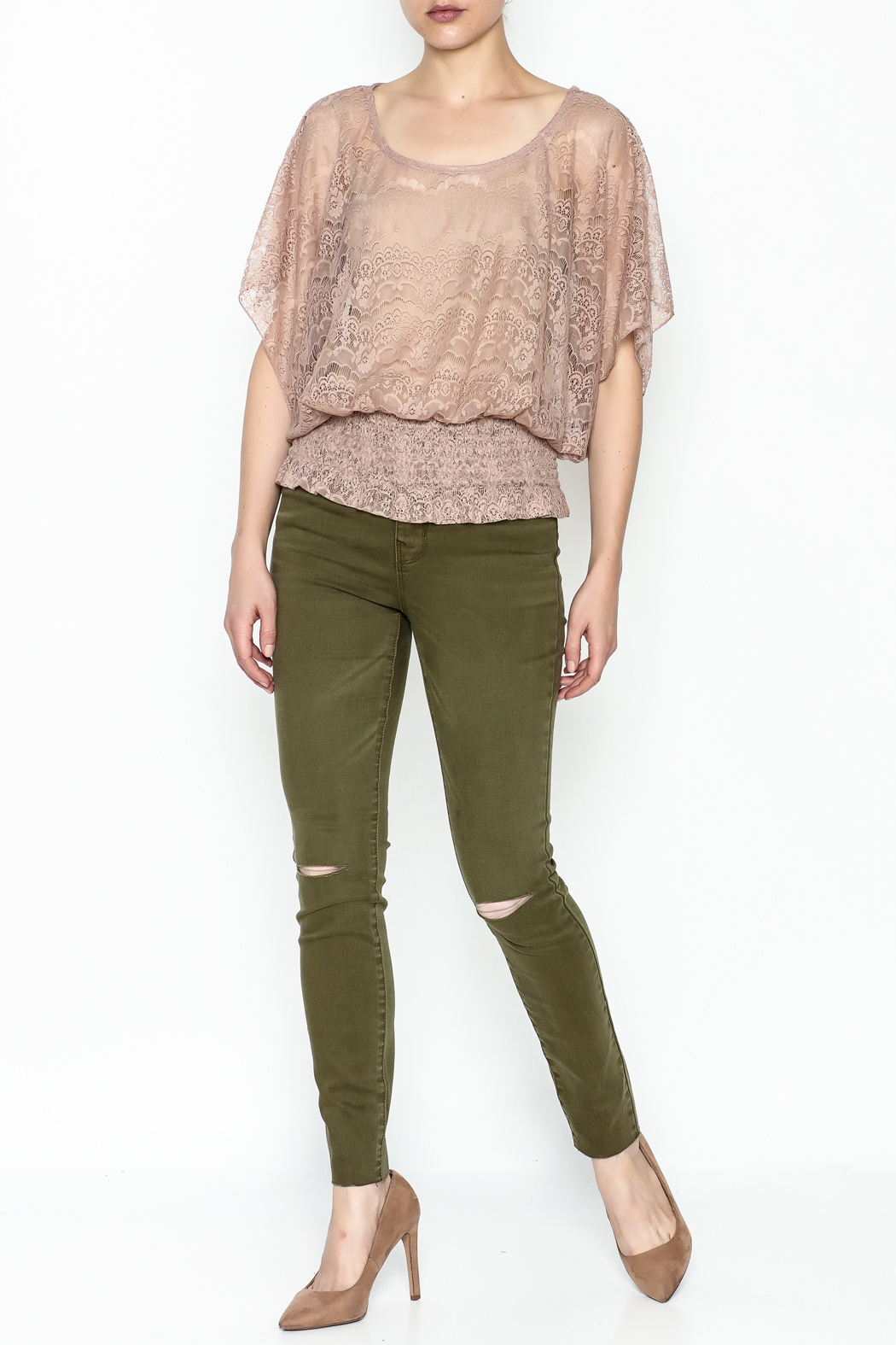 Cecico Lace Smocked Top - Side Cropped Image