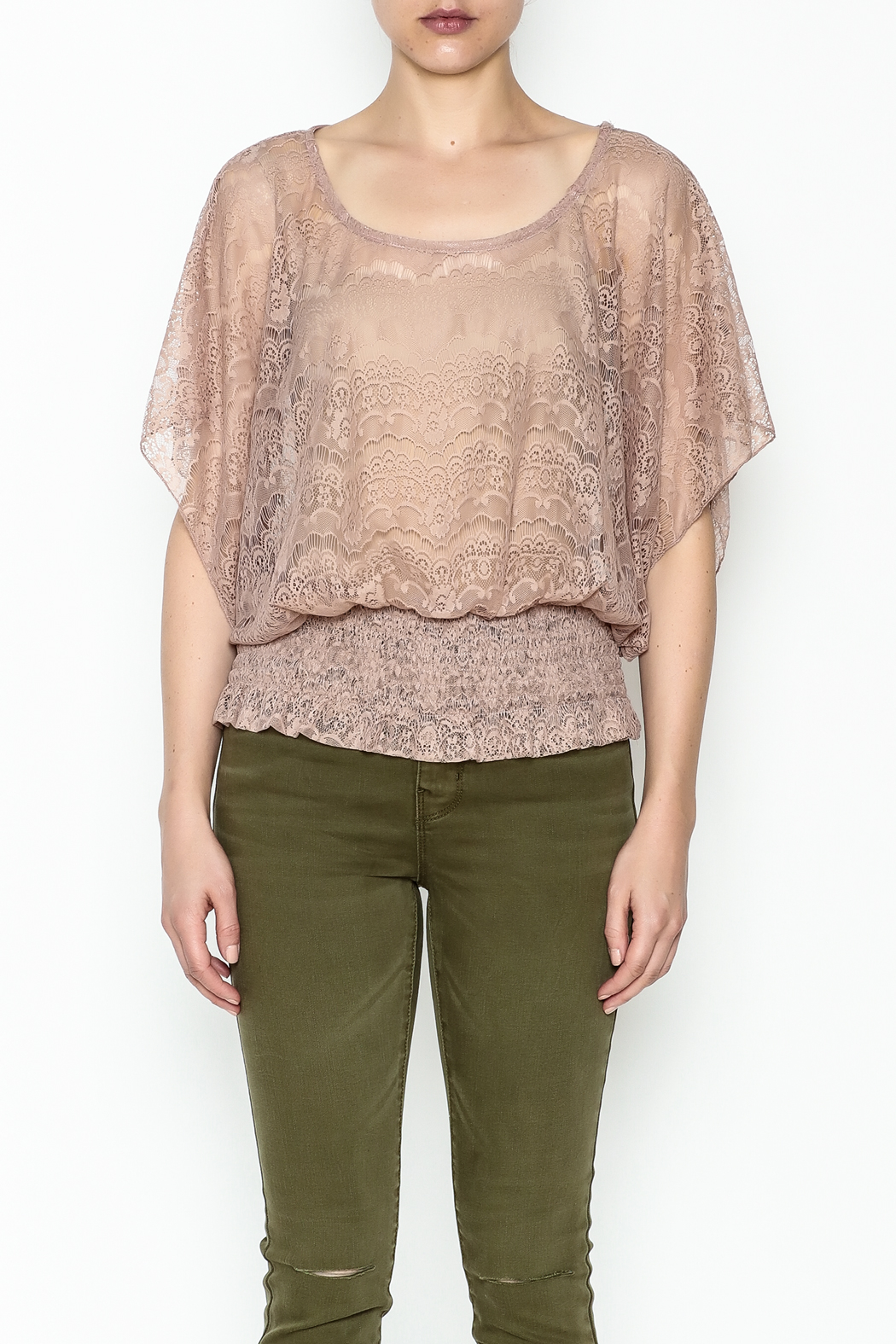 Cecico Lace Smocked Top - Front Full Image