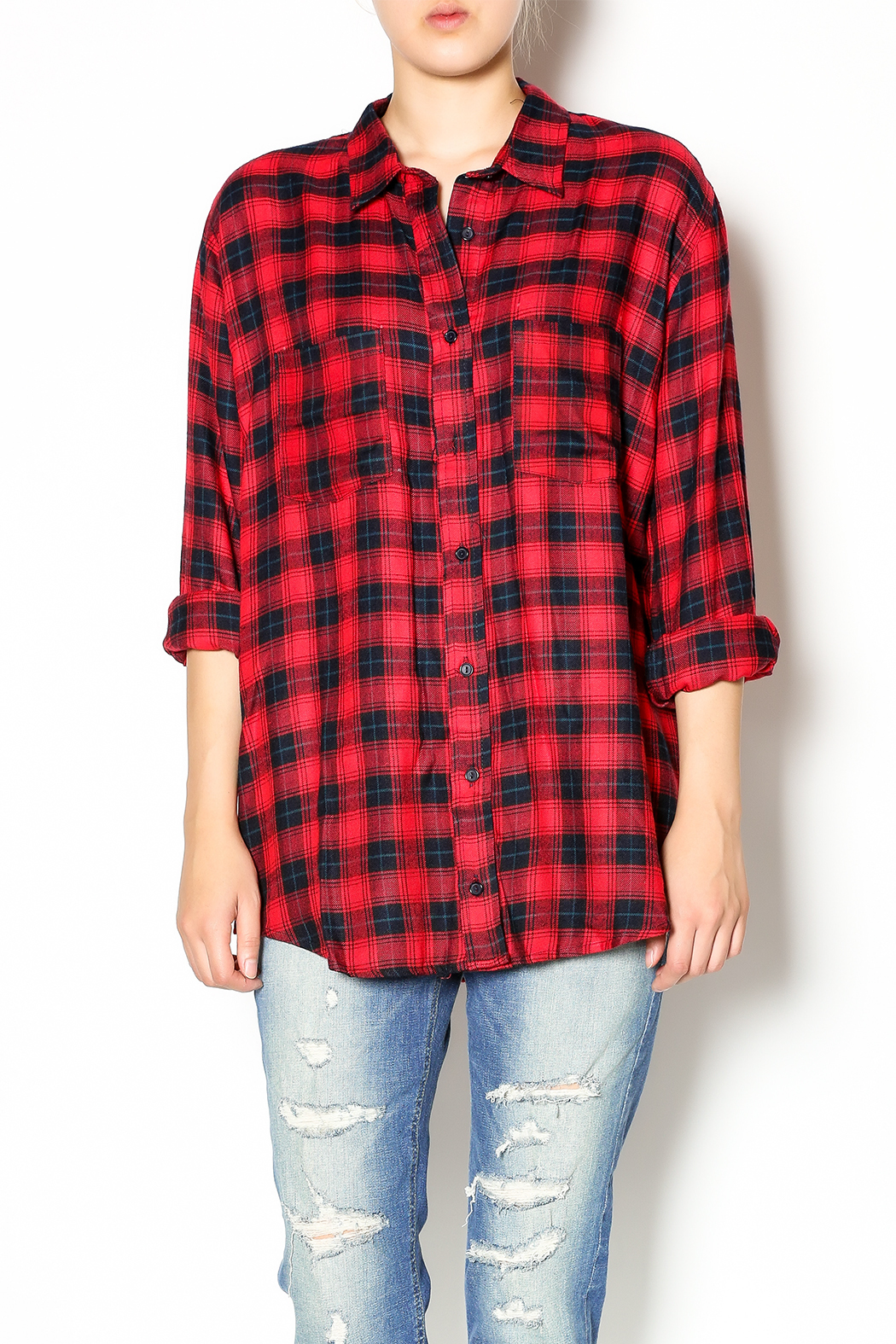 Cecico red black plaid shirt from balboa island by gypsy for Dark red plaid shirt