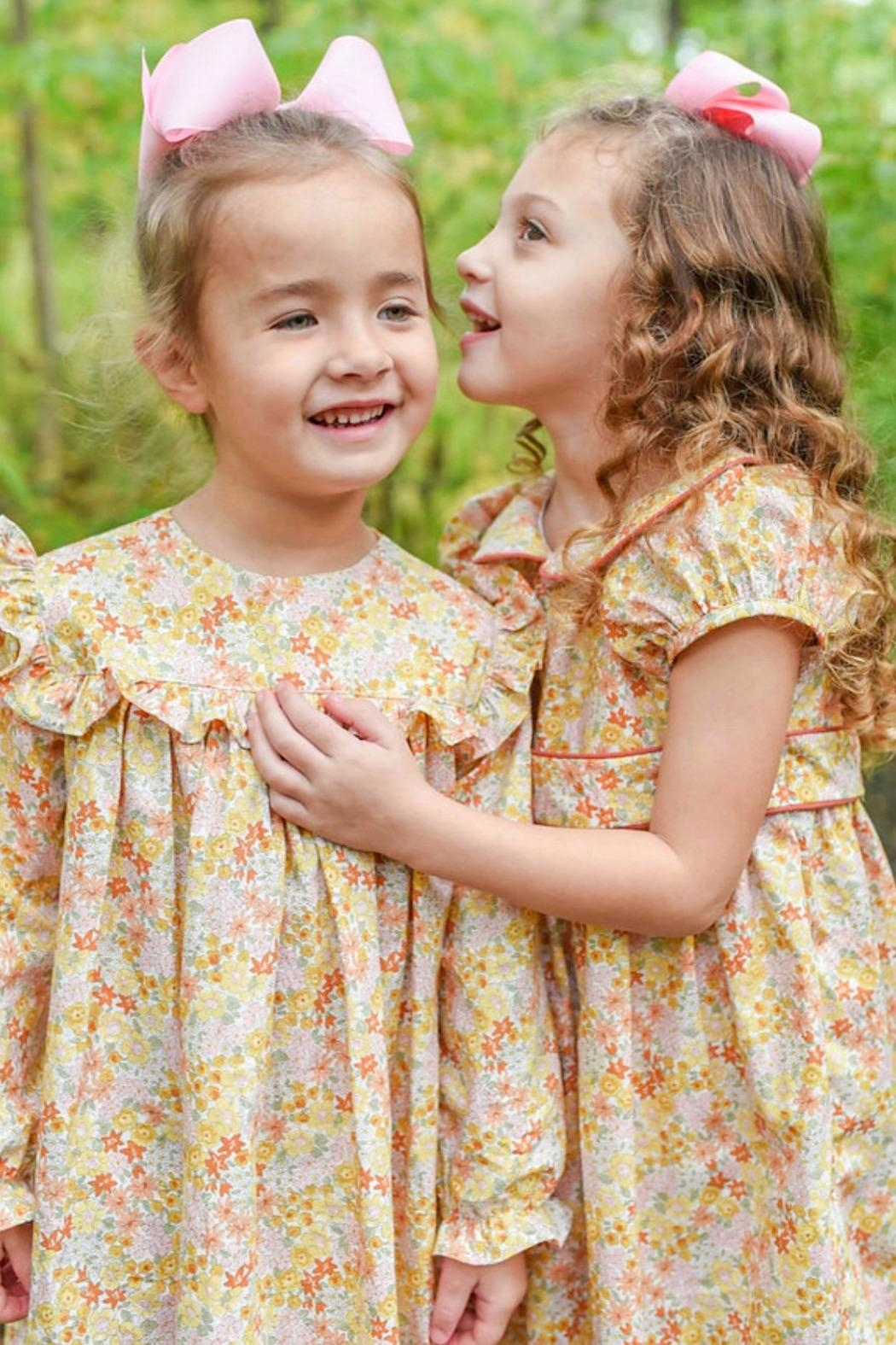 James & Lottie Cecilia Marigold-Floral-Print Dress - Main Image