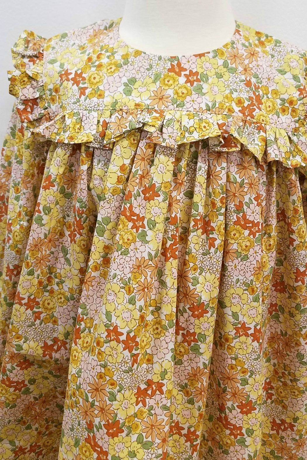 James & Lottie Cecilia Marigold-Floral-Print Dress - Side Cropped Image