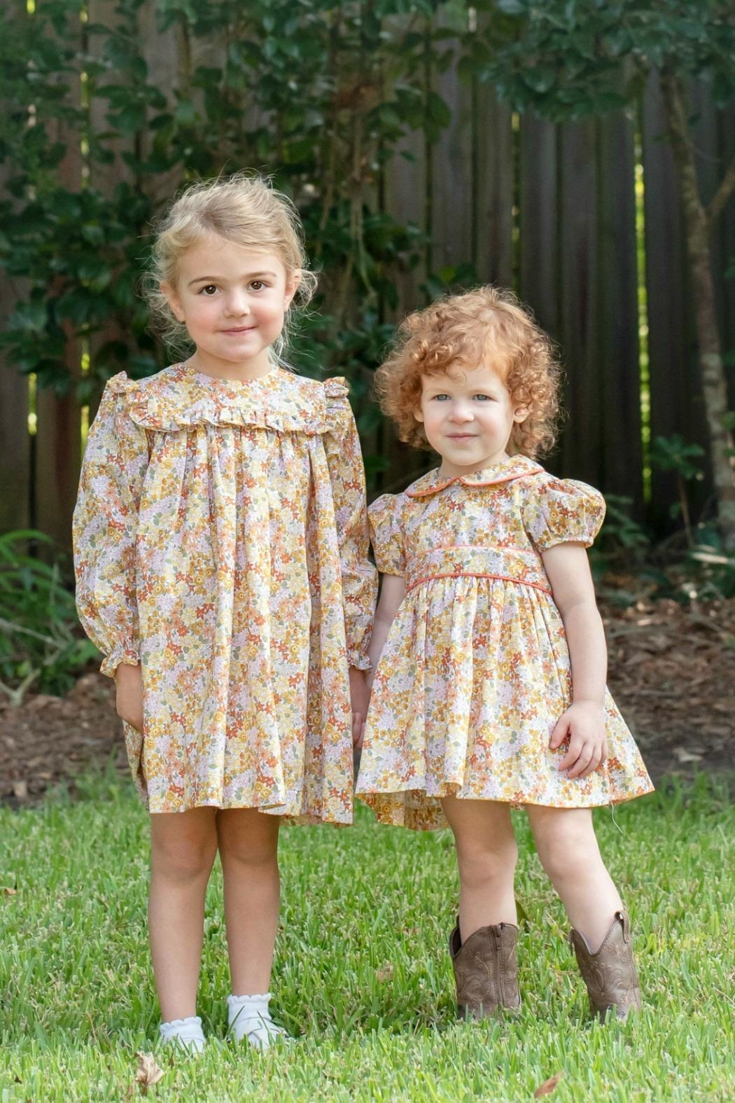 James & Lottie Cecilia Marigold-Floral-Print Dress - Front Full Image