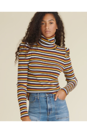 Veronica Beard Cedar Multi-stripe Turtleneck with Puff Sleeve - Product Mini Image