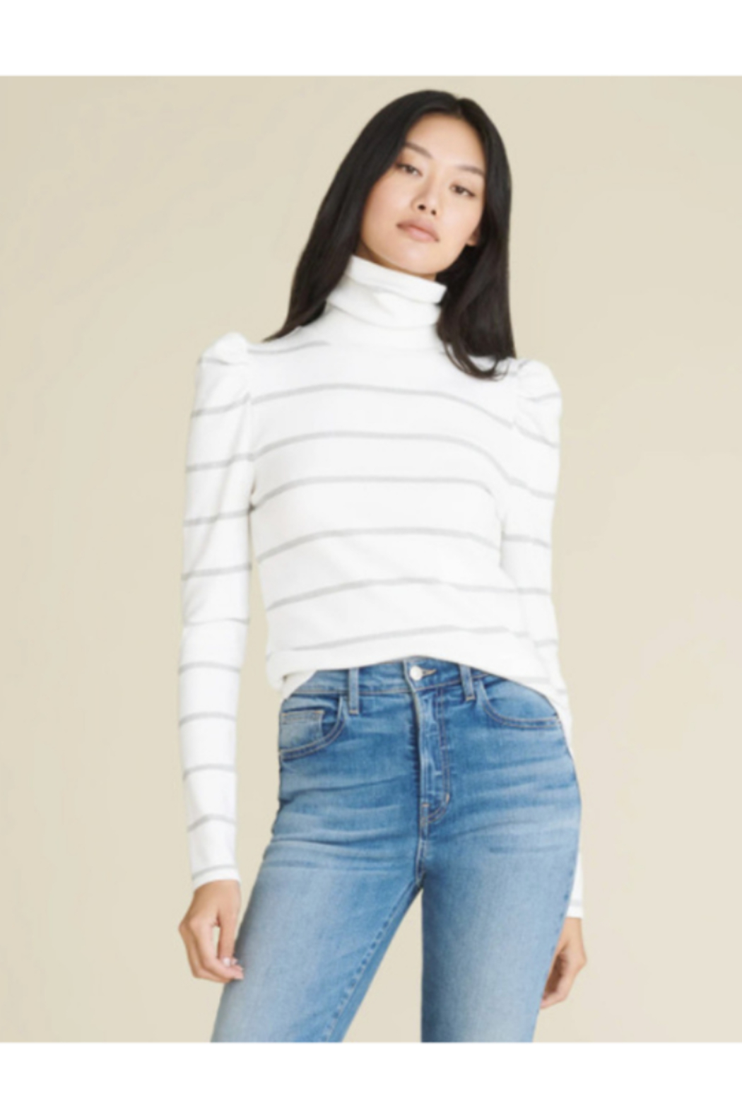 Veronica Beard Cedar Turtleneck with Metallic Stripes - Front Cropped Image