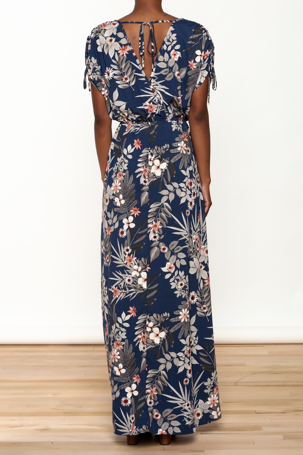 Cefian Navy Floral Maxi Dress - Back Cropped Image