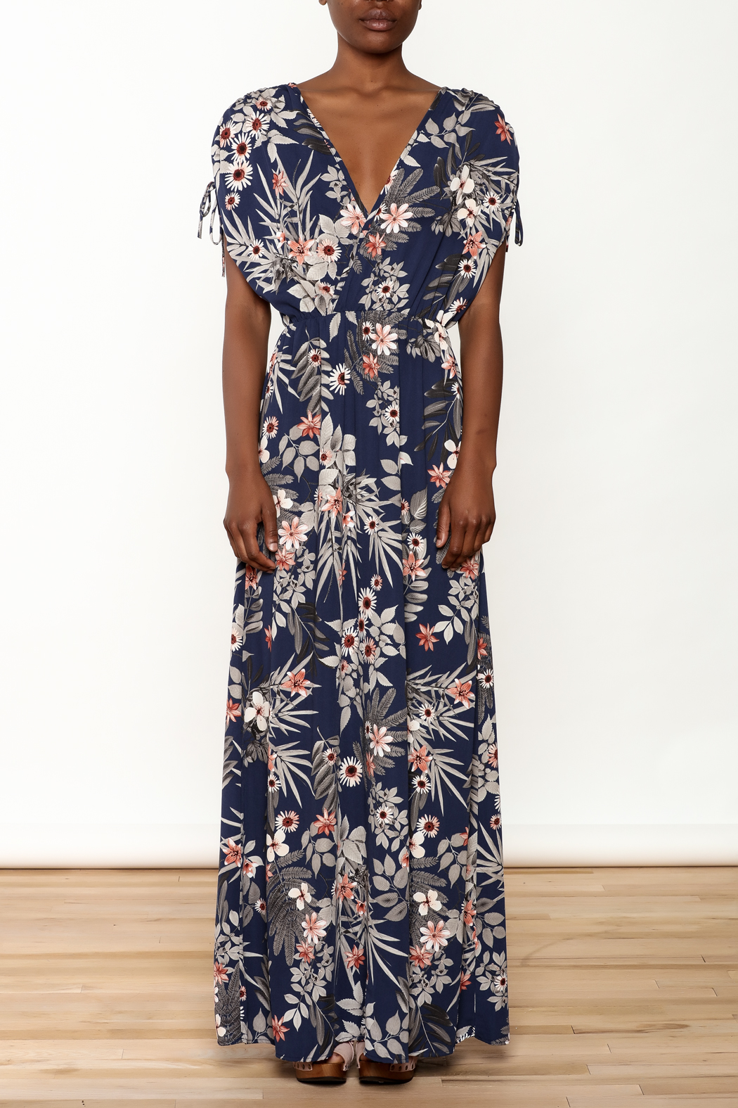 Cefian Navy Floral Maxi Dress - Front Cropped Image