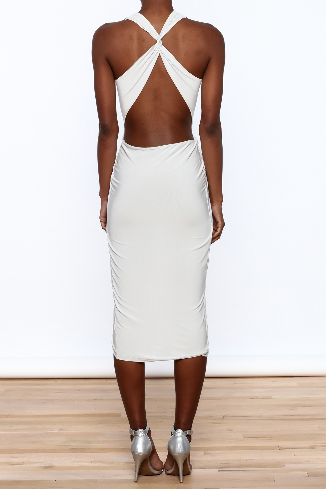Cefian Halter Neck Dress - Back Cropped Image