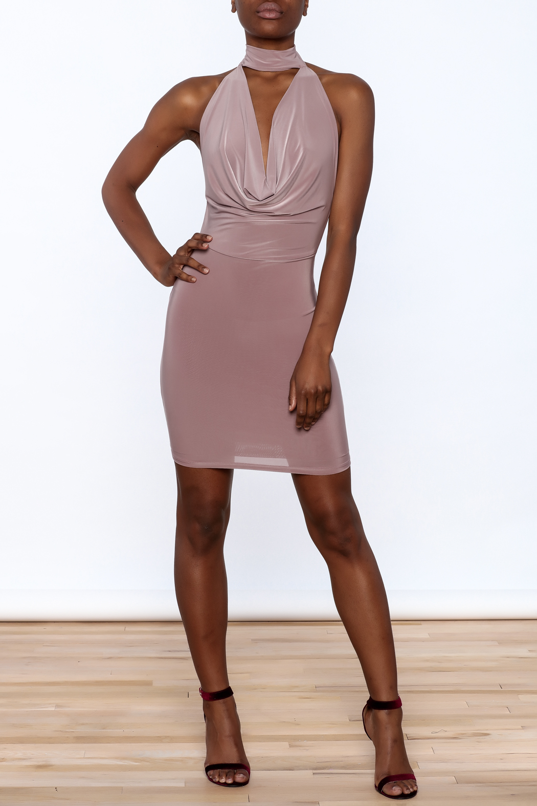 Cefian Mauve Bodycon Dress - Front Full Image