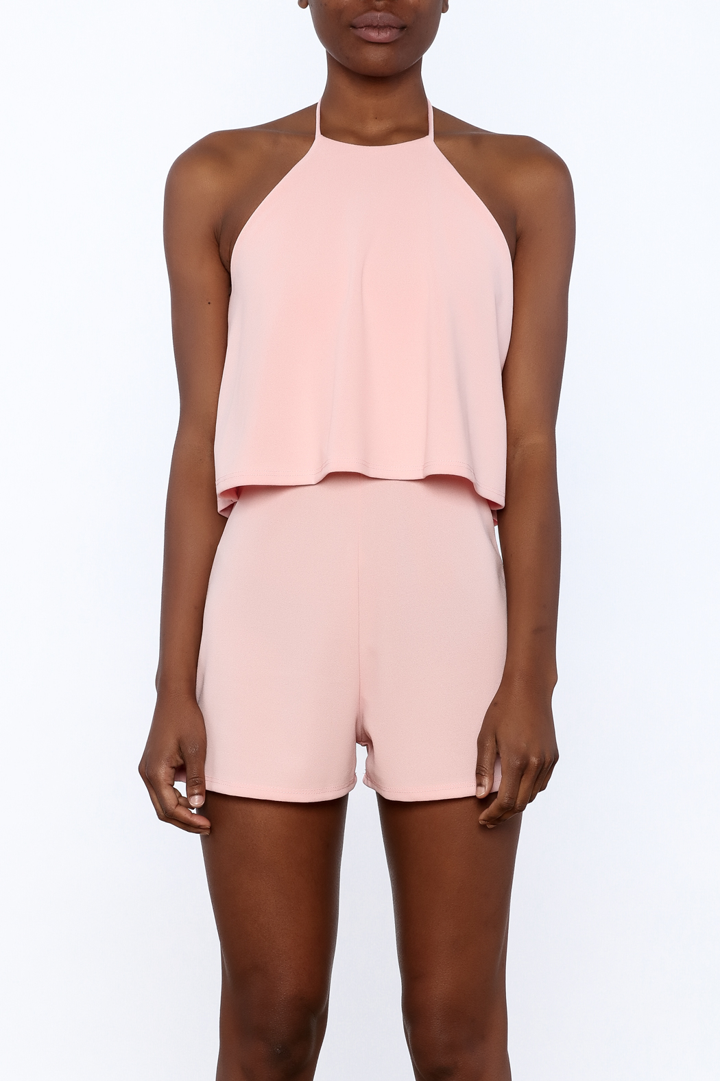 Cefian Pink Overlay Romper - Side Cropped Image