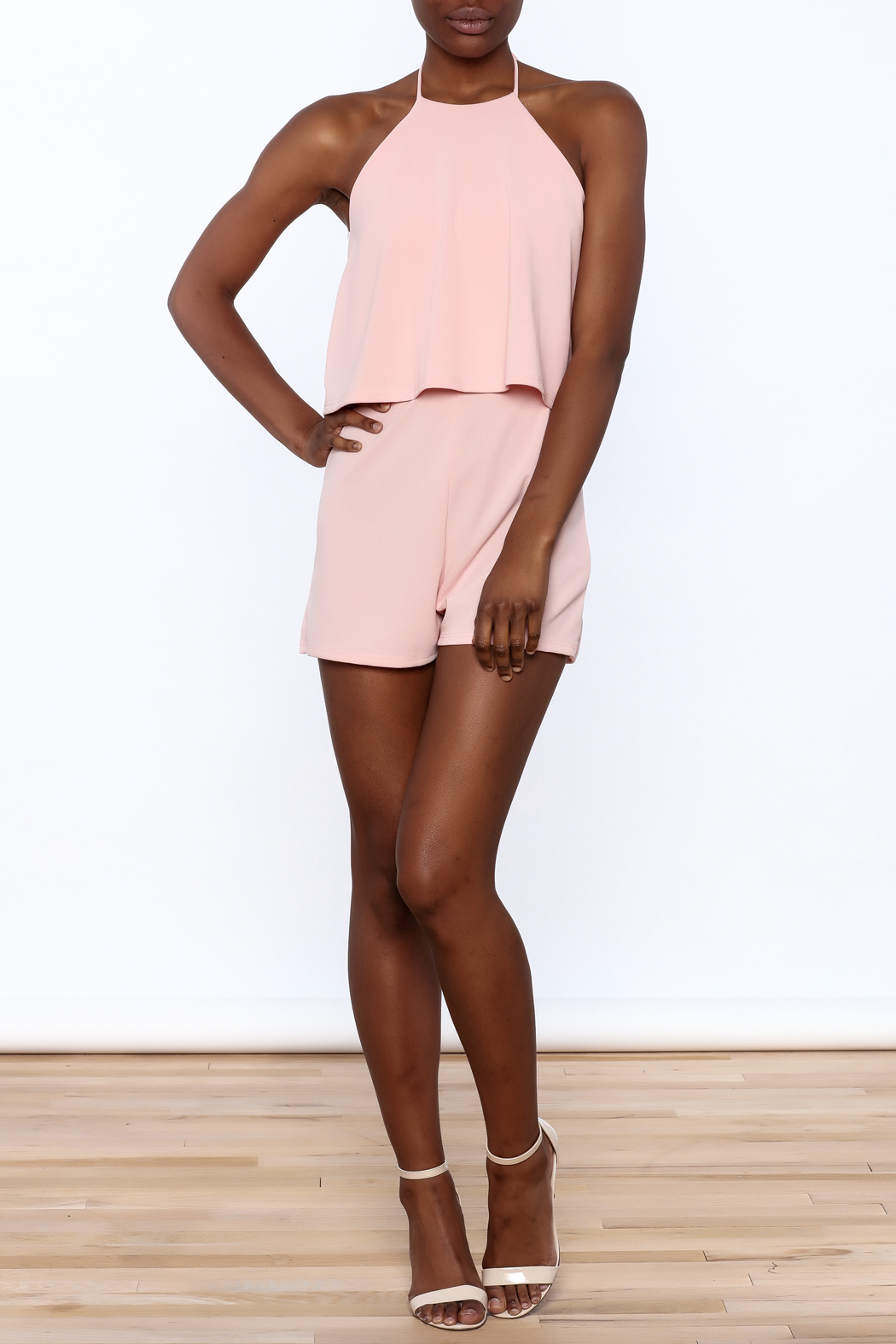 Cefian Pink Overlay Romper - Front Full Image