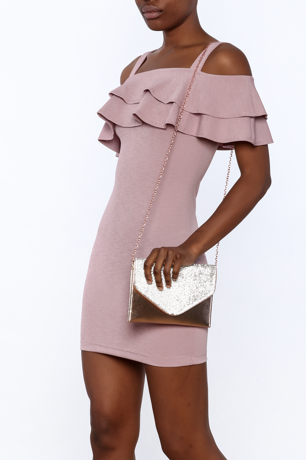 Cefian Ruffle Bodycon Dress - Front Cropped Image