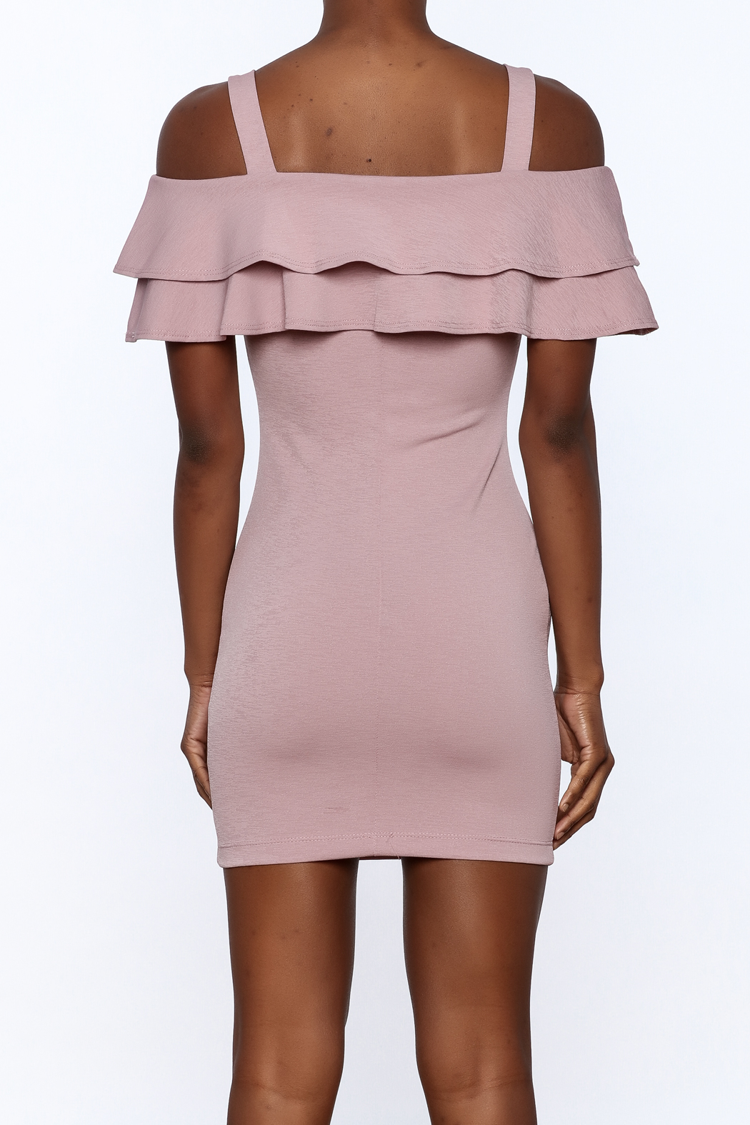 Cefian Ruffle Bodycon Dress - Back Cropped Image
