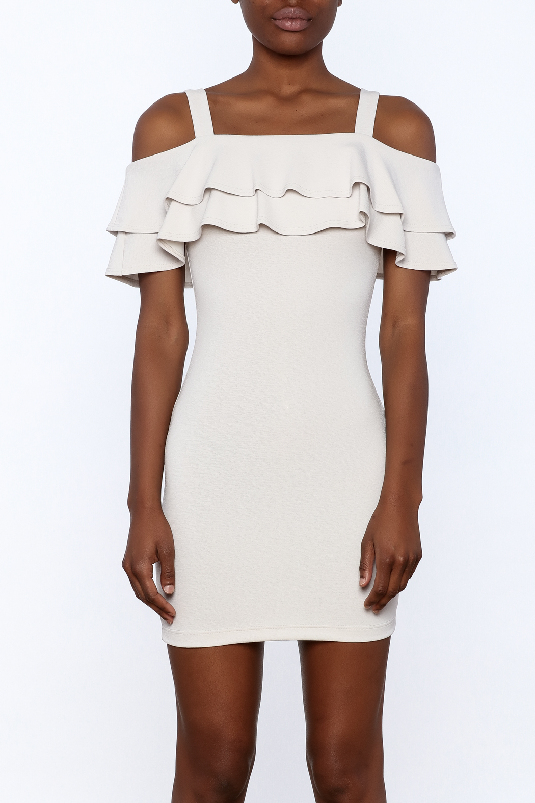 Cefian Ruffle Bodycon Dress - Side Cropped Image