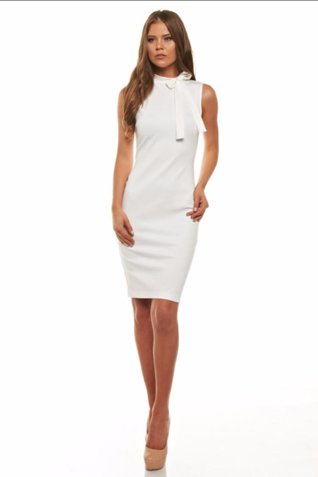 Cefian White Bow Dress - Front Cropped Image
