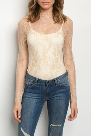 Celebrity Pink  Sheer Lace Bodysuit - Front cropped
