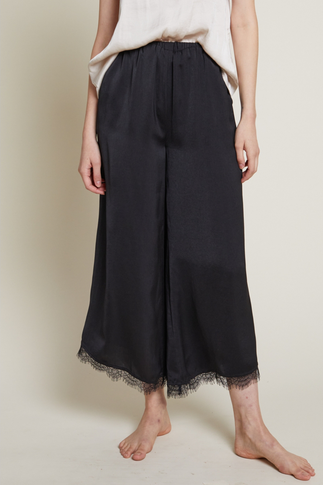 Grade and Gather Celine Satin Lace Pants - Front Cropped Image