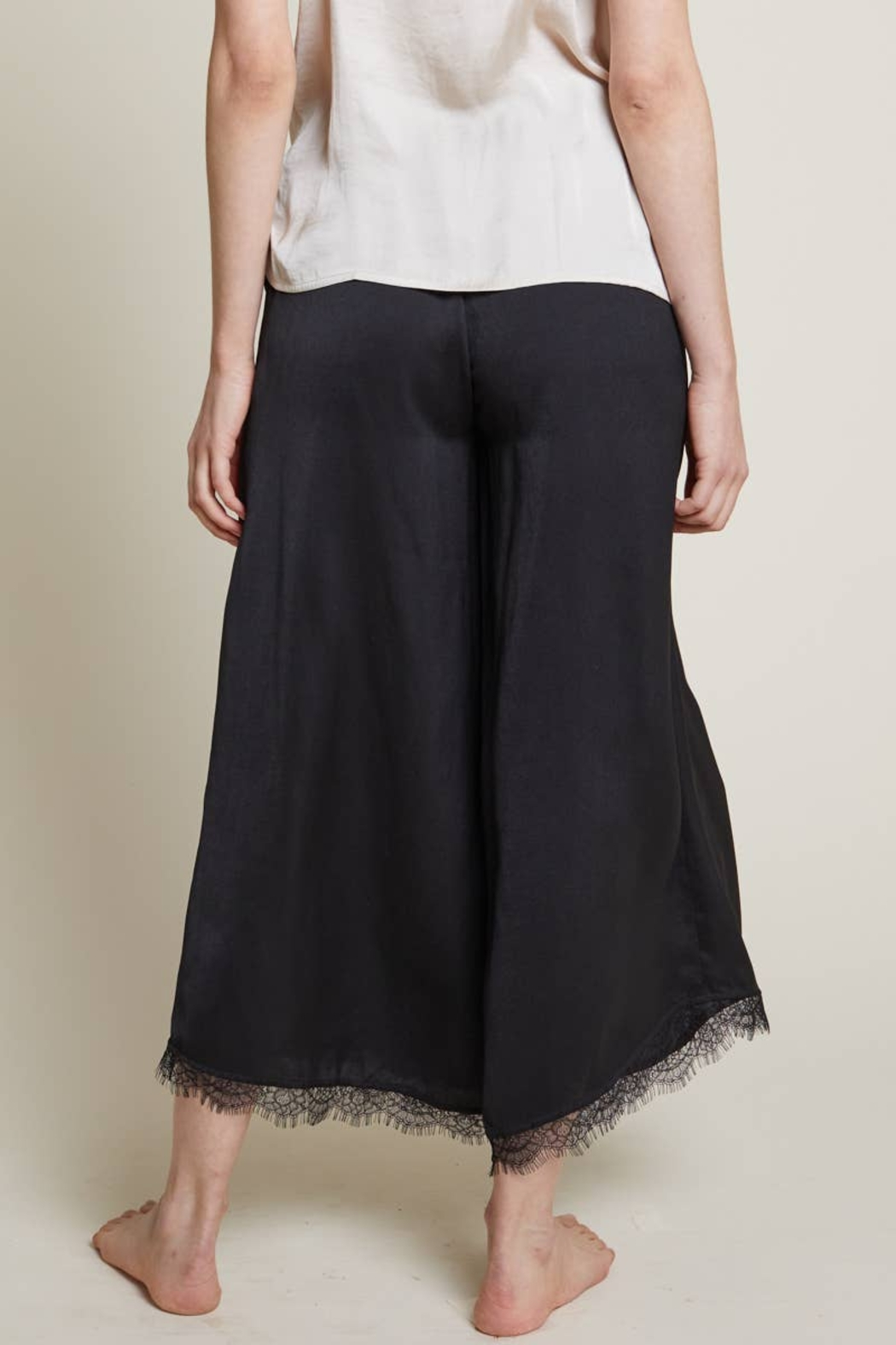 Grade and Gather Celine Satin Lace Pants - Front Full Image