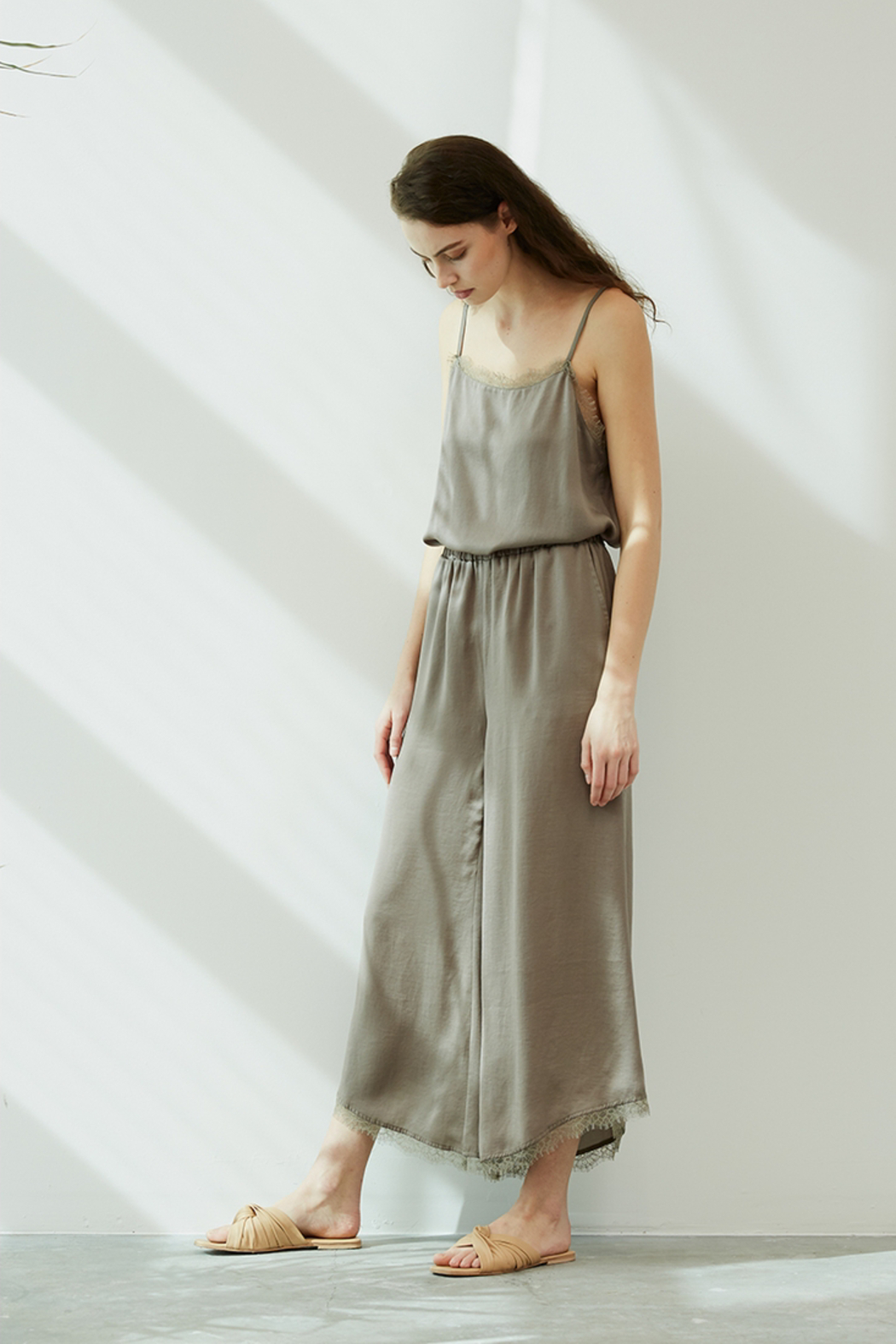 Grade and Gather Celine Satin Lace Pants - Side Cropped Image