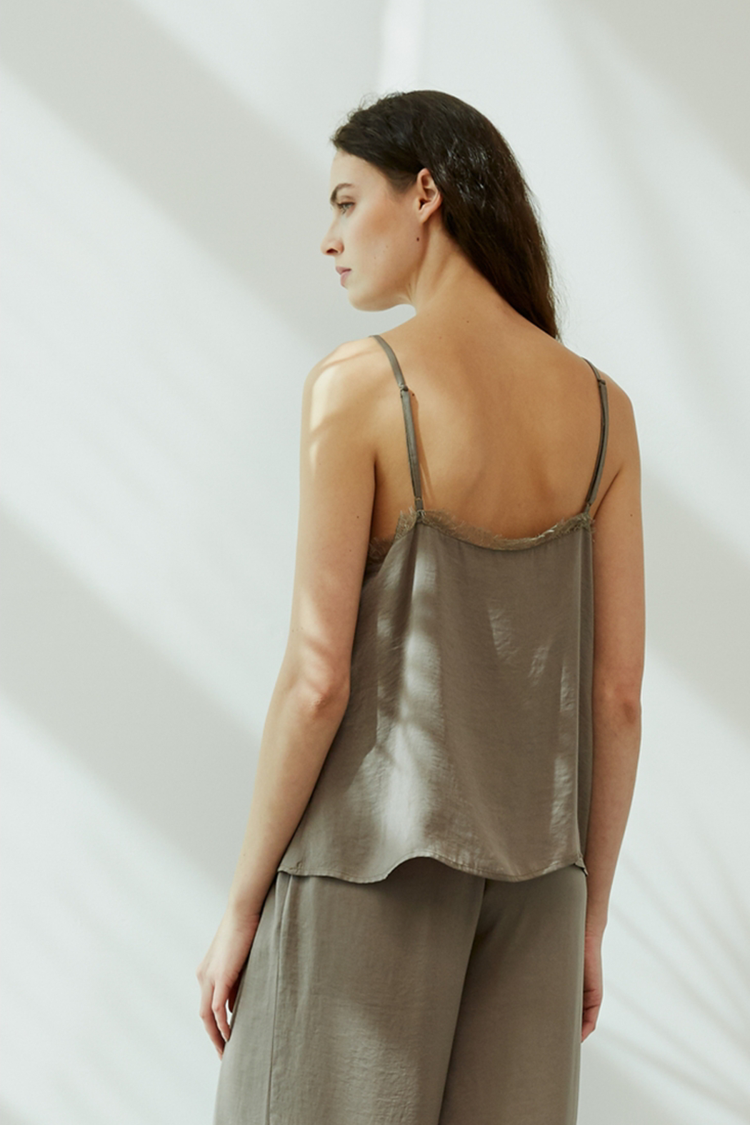 Grade and Gather Celine Satin Lace Top - Front Full Image