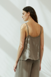Grade and Gather Celine Satin Lace Top - Front full body