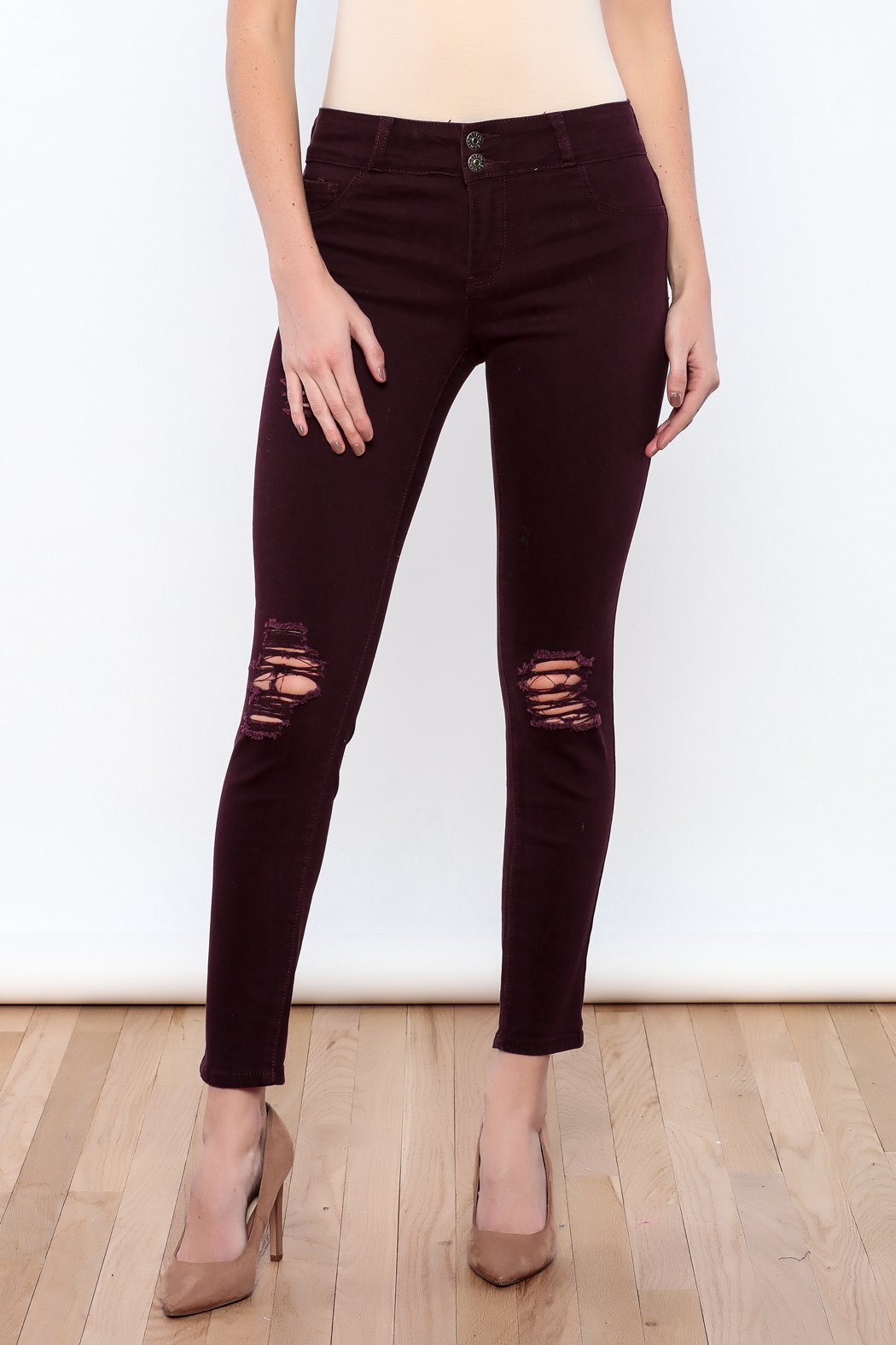Cello Jeans Colored Distressed Skinny - Main Image