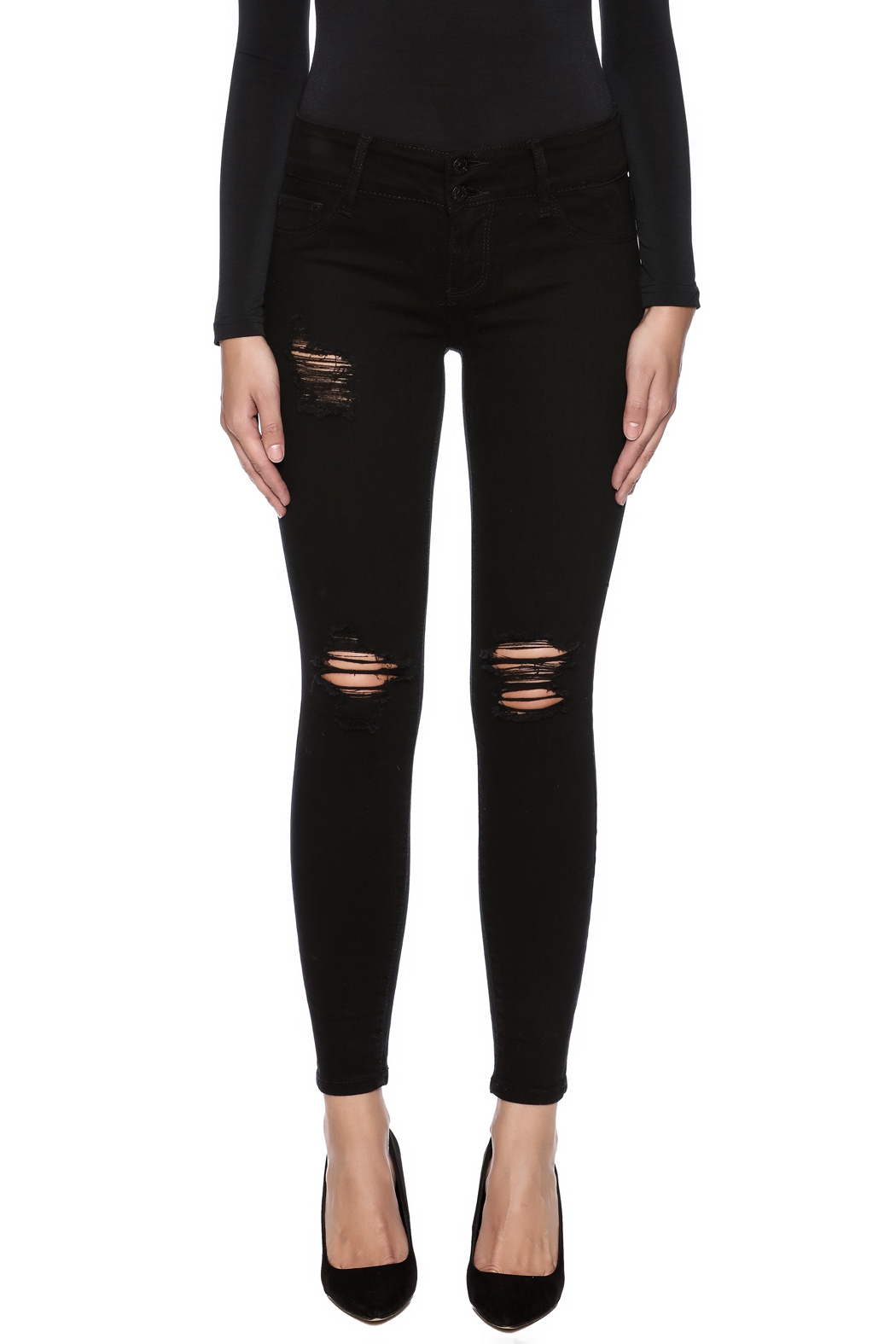 Cello Jeans Distressed Skinny Jeans - Side Cropped Image