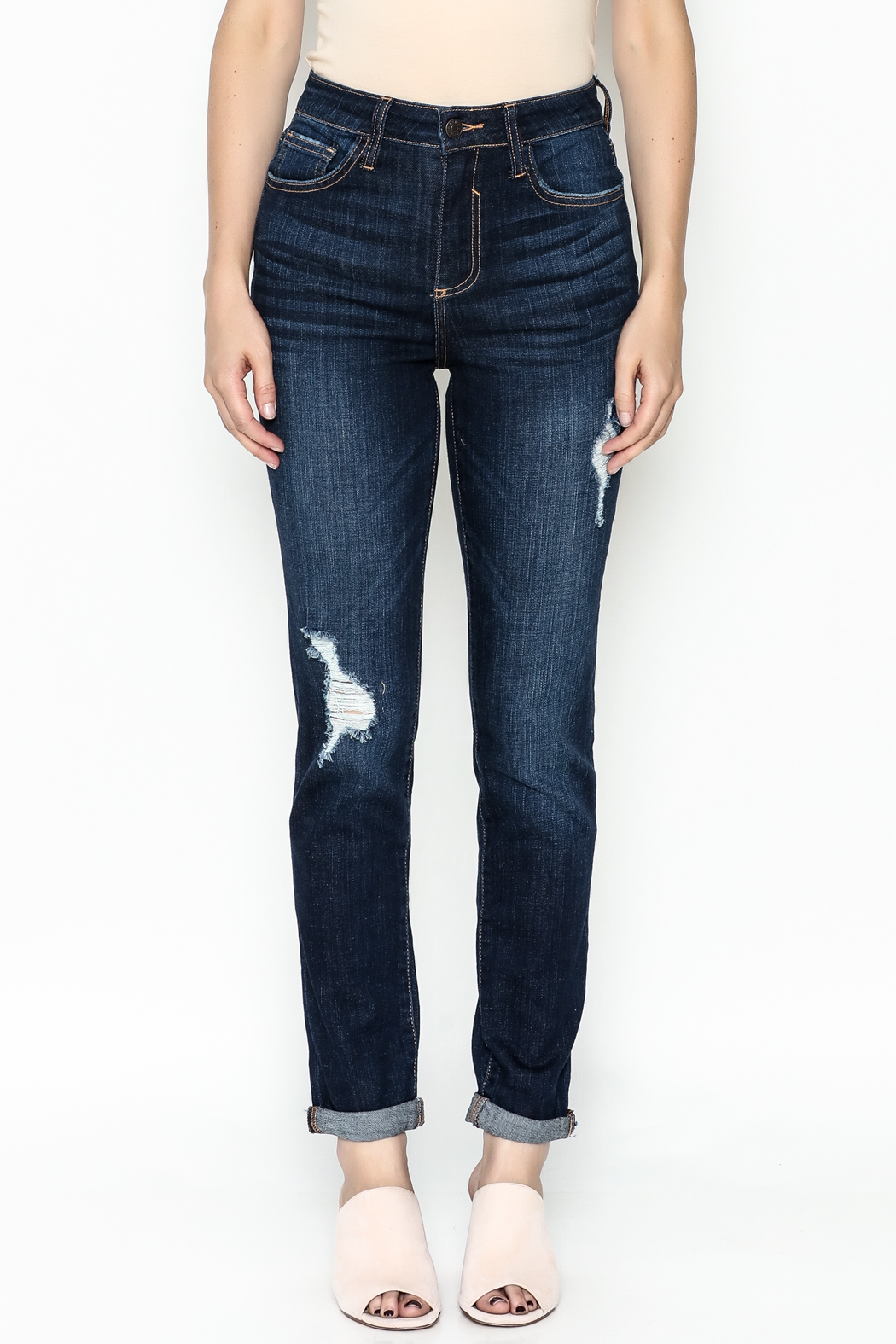 Cello Jeans Mid Rise Slim Jeans - Front Full Image