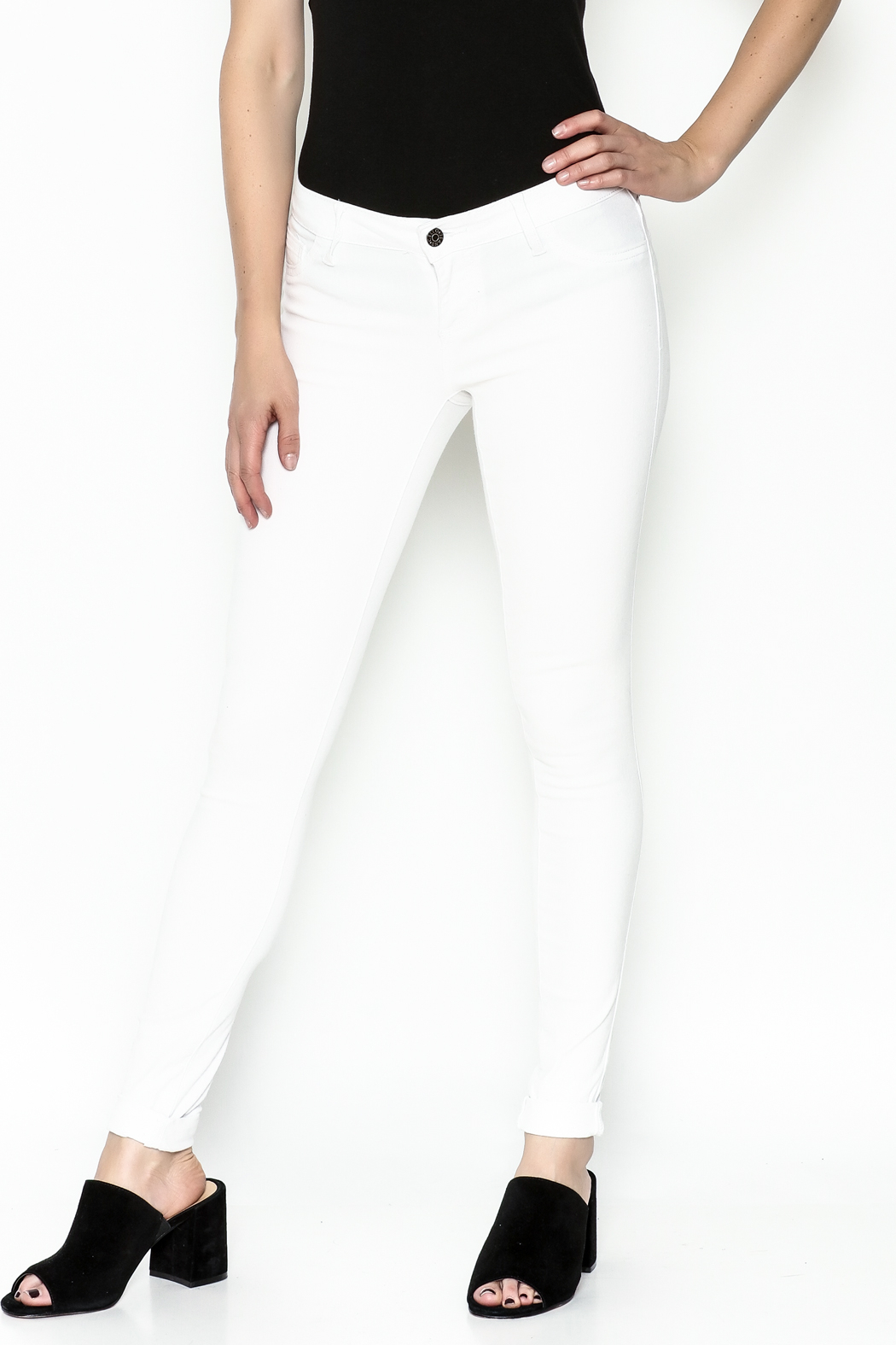 Cello Jeans White Denim Skinny Jeans - Front Cropped Image