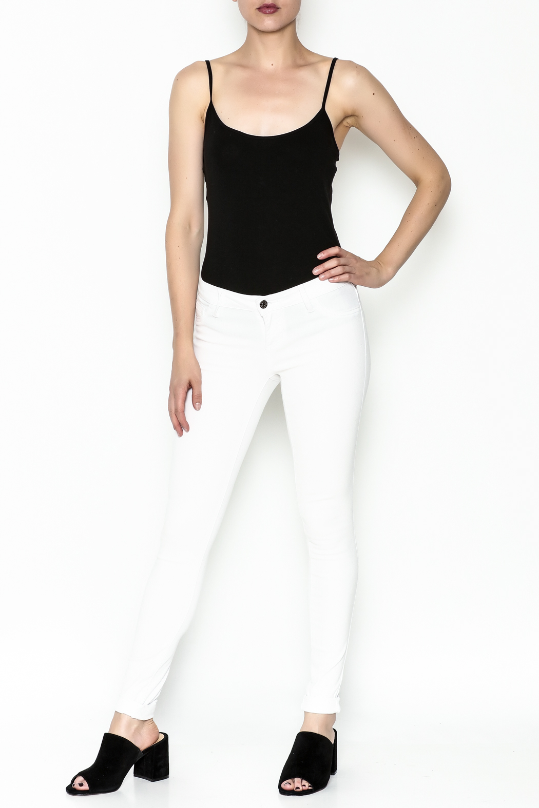 Cello Jeans White Denim Skinny Jeans - Side Cropped Image