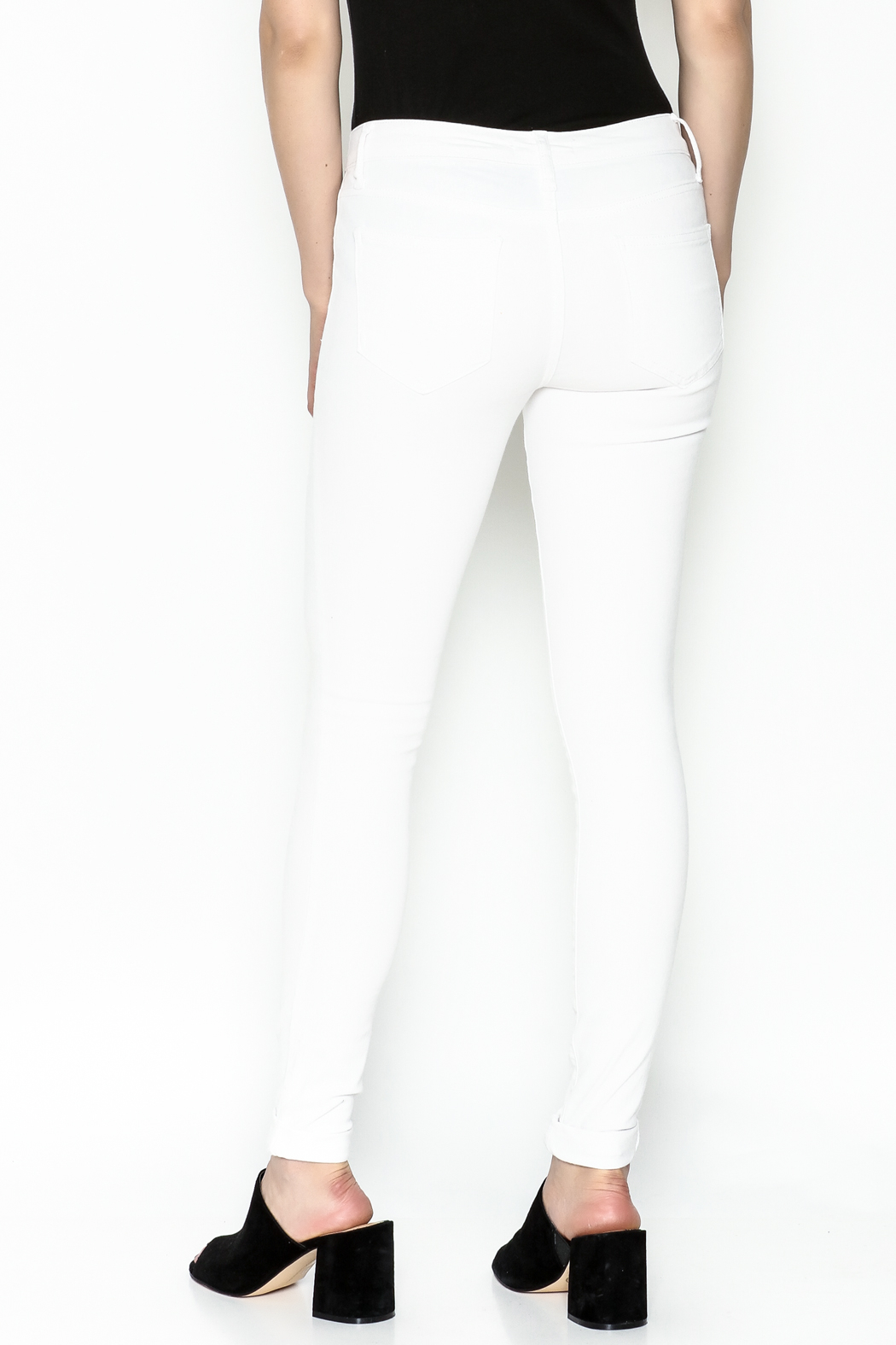 Cello Jeans White Denim Skinny Jeans - Back Cropped Image