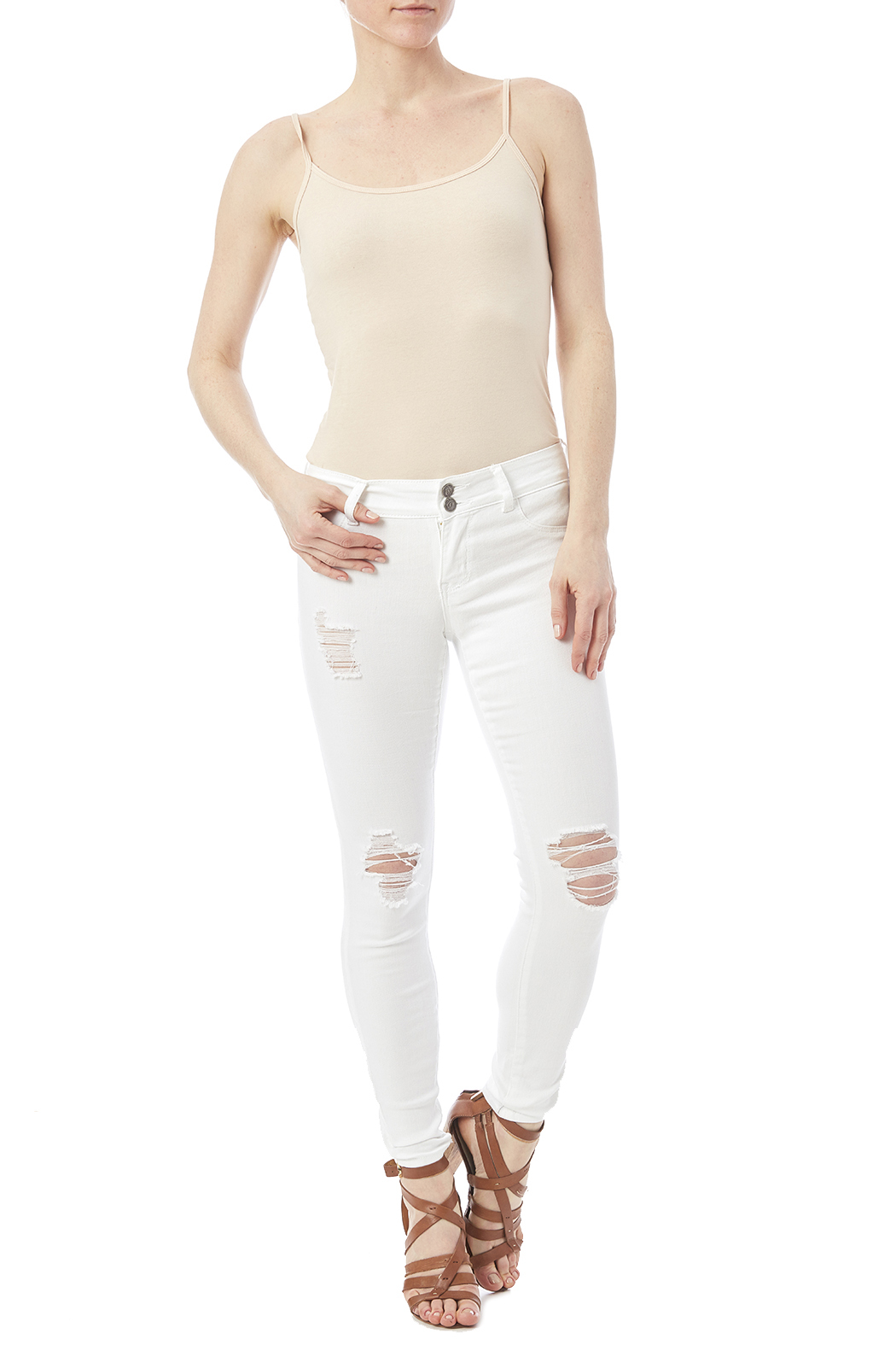 Cello White Distressed Jeans - Front Full Image