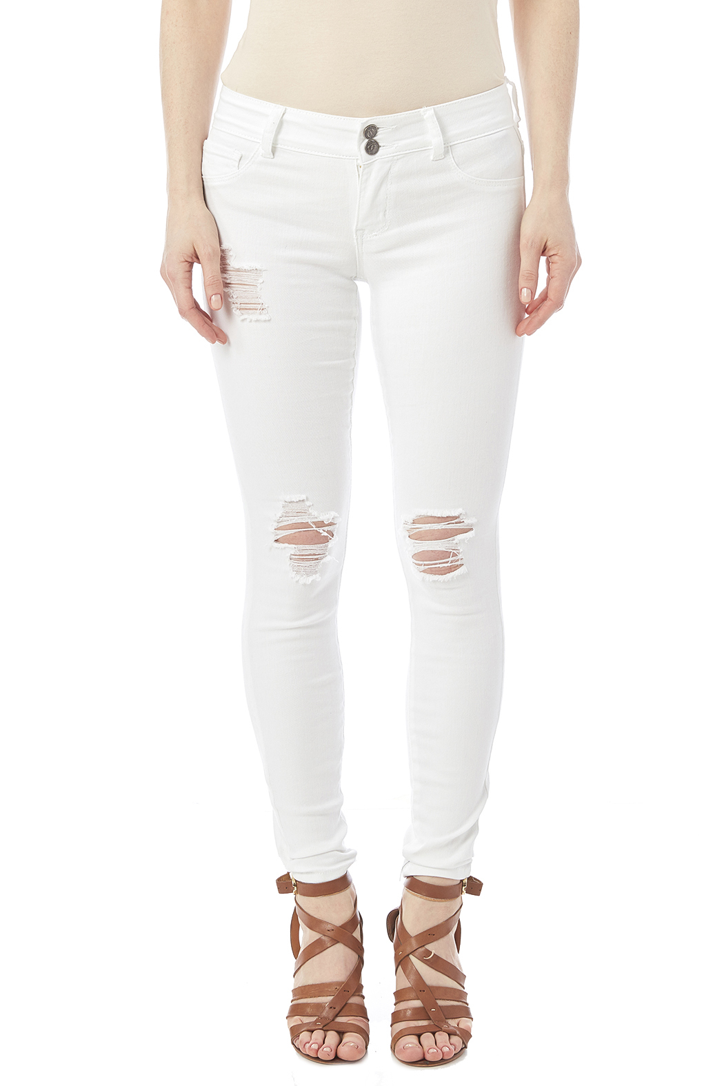Cello White Distressed Jeans - Side Cropped Image