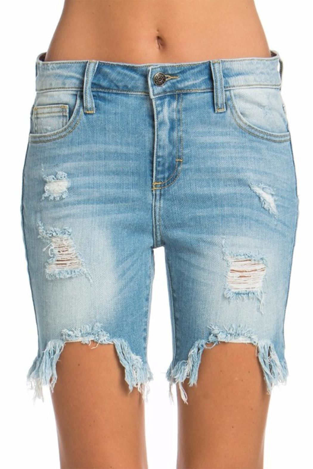 Cello Jeans Bermuda Uneven Shorts - Front Cropped Image