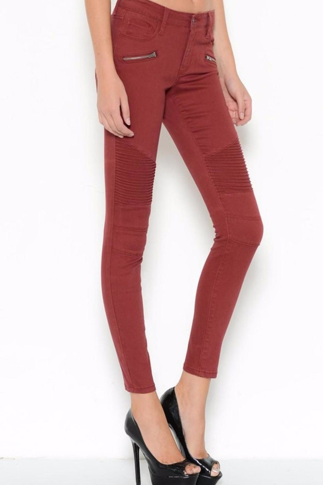 Cello Jeans Burgandy Skinny Jeans - Side Cropped Image